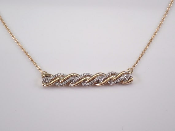 """Diamond Bar Necklace Cluster Pendant Yellow Gold Wedding Gift Chain 18"""""""