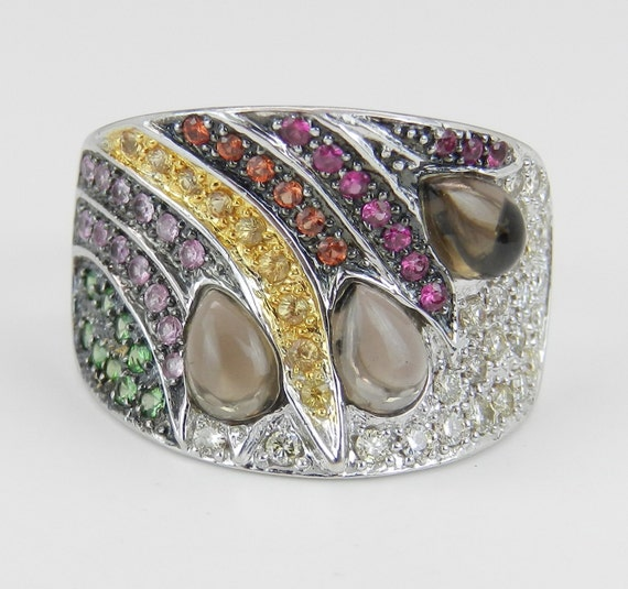 Diamond and Multi Color Sapphire Ring Anniversary Band 18K White Gold Size 6.75 Peacock Ring FREE Sizing