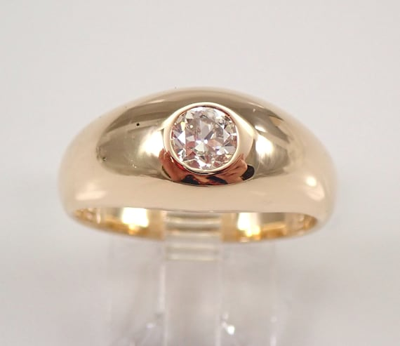 Antique Vintage 14K Yellow Gold Old Miner Diamond Gypsy Ring Solitaire Engagement Ring Band Size 8.5