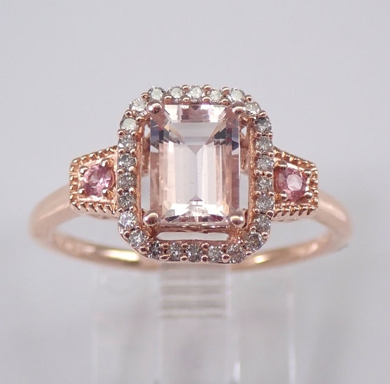 Morganite Pink Tourmaline and Diamond Halo Engagement Ring Rose Gold Size 7 Emerald Cut FREE Sizing