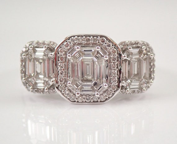 14K White Gold Three Stone Halo Diamond Engagement Ring Size 7 Emerald Cut Look Past Present Future
