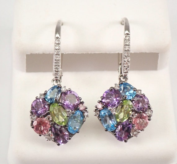 White Gold Multi Color Gemstone Dangle Cluster Earrings Amethyst Pink Topaz Peridot White Sapphire