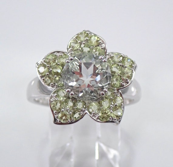 14K White Gold 3 ct Green Amethyst Flower Engagement Ring Size 8 FREE Sizing