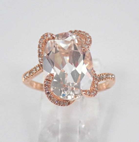 White Topaz and Diamond Engagement Ring Rose Gold Size 7 Modern Design December Gemstone FREE Sizing