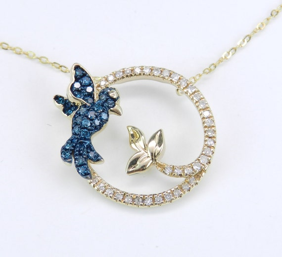 "White and Blue Diamond Hummingbird Circle Pendant Necklace 14K Yellow Gold 16"" Chain"