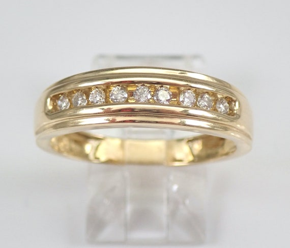 Mens Yellow Gold Diamond Wedding Band Anniversary Ring Size 10 Unisex Free Sizing