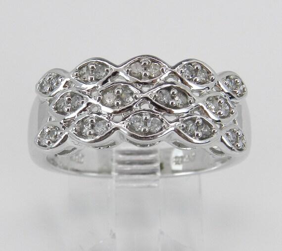 Diamond Wedding Band Anniversary Ring Size 7.25 Three Row White Gold Round