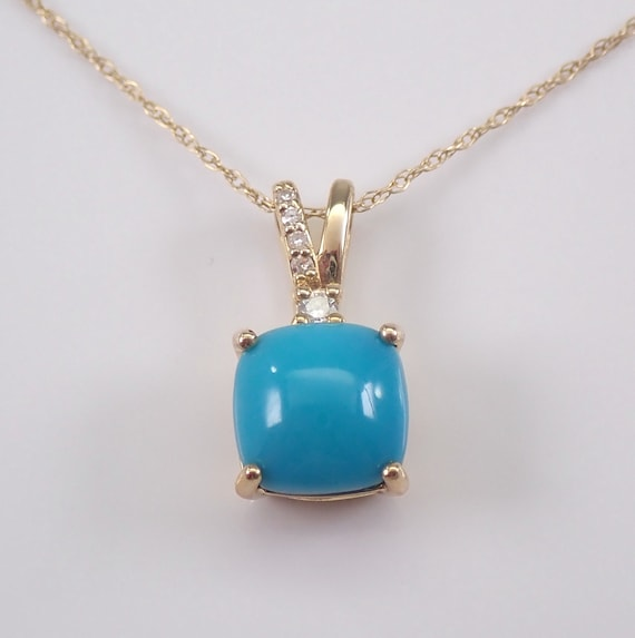 "Turquoise and Diamond Pendant Necklace Yellow Gold 18"" Chain Cushion Cut"