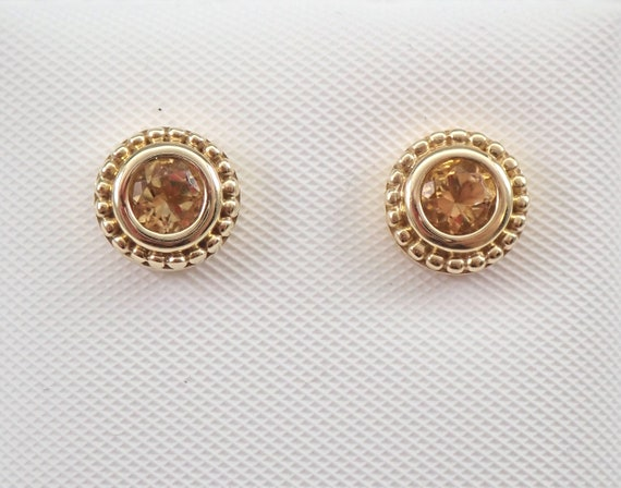 Citrine Stud Earrings Halo Studs Yellow Gold November Birthstone Graduation Gift