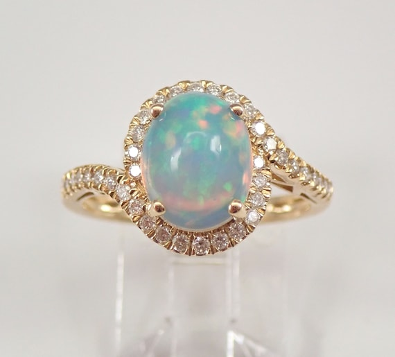 14K Yellow Gold 1.81 ct Opal and Diamond Halo Engagement Ring Size 7 October Gemstone FREE Sizing