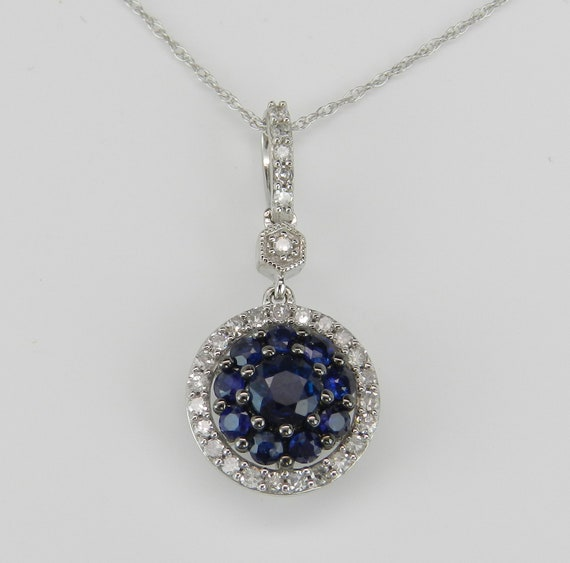 "Diamond and Sapphire Cluster Halo Pendant White Gold Necklace 18"" Chain September Birthstone"