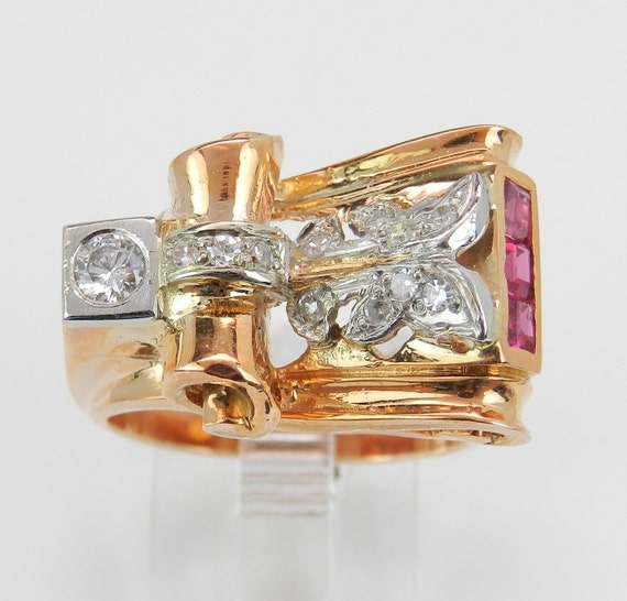 Antique RetroDiamond and Ruby Cocktail Ring Circa 1940's  14K Rose Pink Gold Size 6