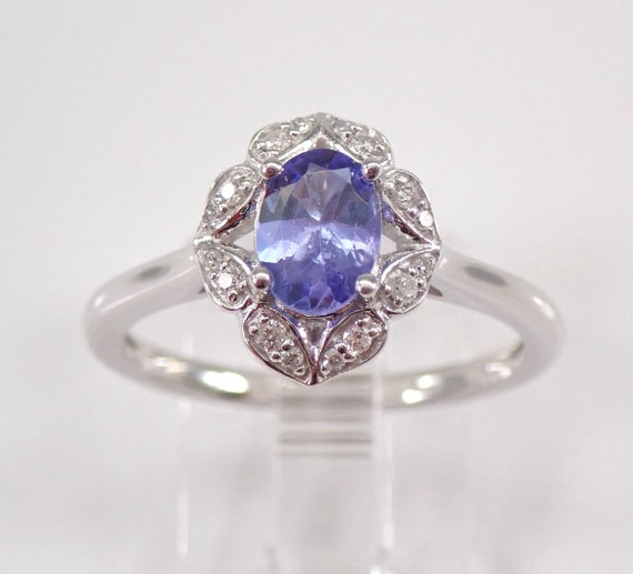 Diamond and Tanzanite Halo Engagement Ring White Gold Size 7 December Birthday
