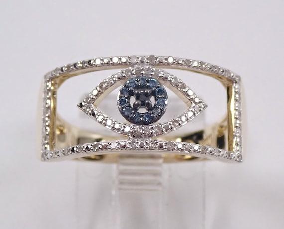 Yellow Gold Diamond Evil Eye Ring Blue and Black Fancy Diamond Band Size 7