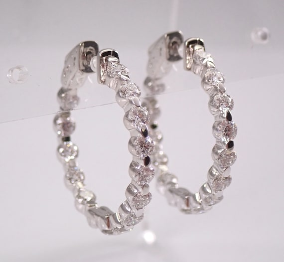 14K White Gold 2.59 ct Diamond Hoop Earrings Diamond Hoops In and Out F-VS1