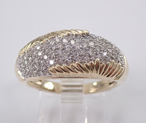 Pave Set 3/4 ct Diamond Wedding Ring Anniversary Band Yellow Gold Size 7 Unique Design FREE Sizing
