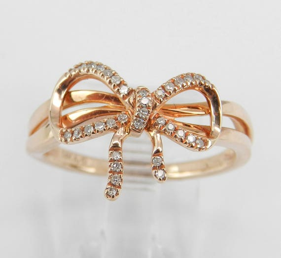 Diamond Bow Tie Ring Promise Cluster Ring Rose Pink Gold Gift Size 7