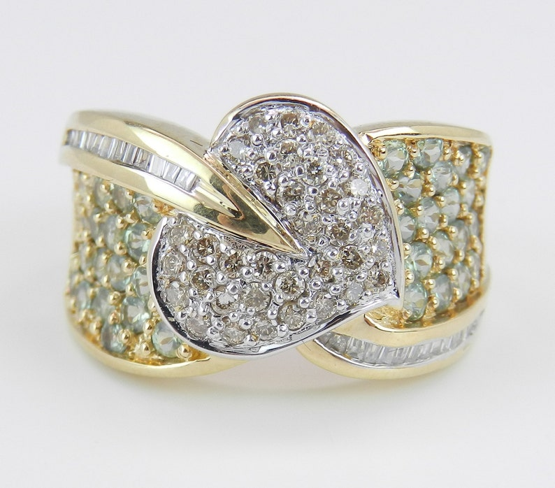 Diamond and Green Sapphire Ring Leaf Anniversary Pave Set Ring image 0