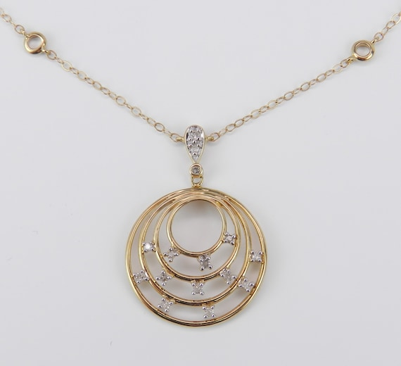 "Diamond Circle Drop Pendant Necklace 17"" Chain Yellow Gold FREE SHIPPING"
