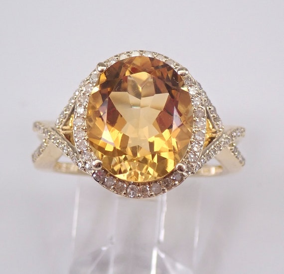 6.40 ct Diamond and Citrine Halo Engagement Ring 14K Yellow Gold Size 7 November Birthstone FREE Sizing