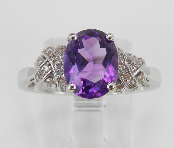HUGE SALE White Gold Diamond and Amethyst Engagement Ring Purple Size 7