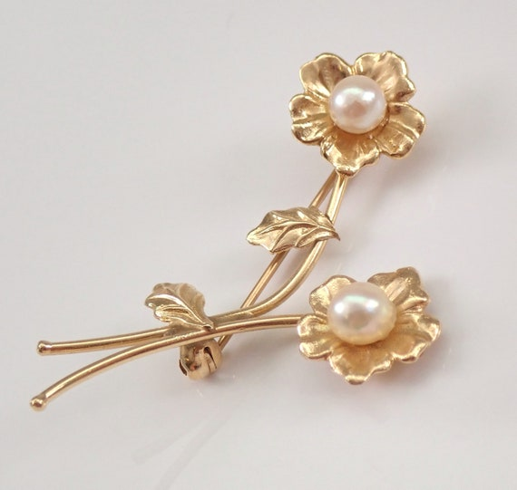 Antique Vintage Estate 14K Yellow Gold Pearl Flower Brooch Stick Pin