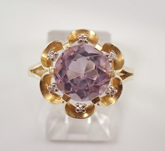 Vintage Estate 14K Yellow Gold Amethyst and Diamond Flower Engagement Ring Size 8.75