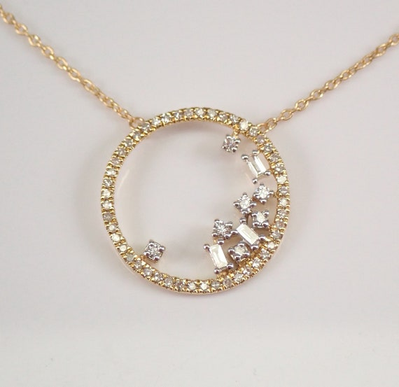 "Diamond Necklace Circle of Life Pendant Yellow Gold Modern Design Chain 18"" Adjustable"