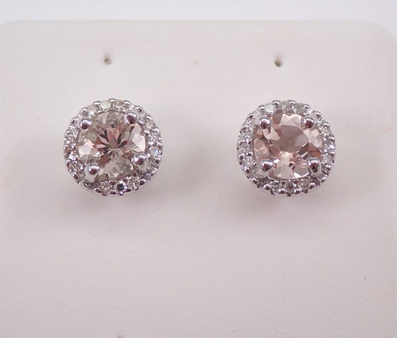 Round Morganite and Diamond Halo Stud Earrings Pink Aqua White Gold Studs