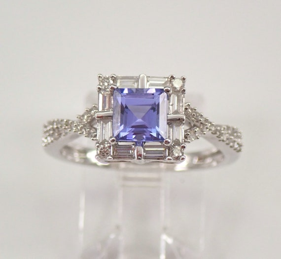 White Gold Princess Cut Tanzanite and Diamond Halo Engagement Ring Size 7 December Gem