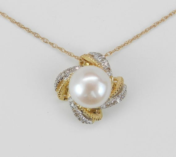 """Yellow Gold Diamond and Pearl Halo Pendant Necklace with Chain 18"""" June Birthday"""