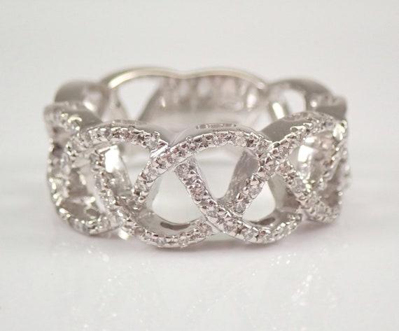 Crossover Diamond Wedding Ring Anniversary Band 18K White Gold Braided Design Size 8.5