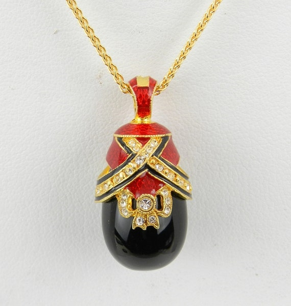 "Red Enamel and Black Onyx Swarovski Crystal Pendant 18K Yellow Gold over Sterling Silver with Chain 18"" Faberge Style Egg"