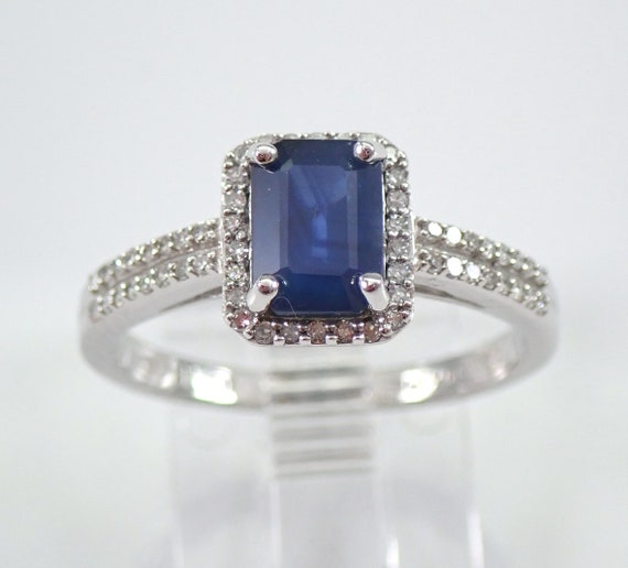 White Gold Diamond and Sapphire Halo Engagement Ring Size 7 September Birthstone FREE Sizing