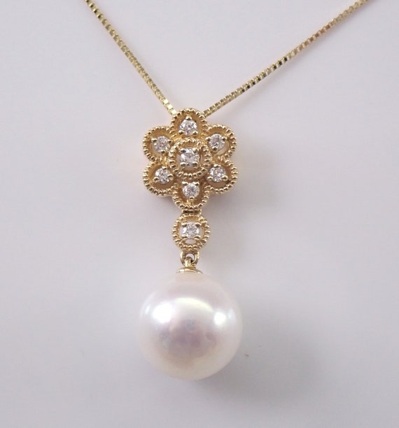 "14K Yellow Gold Pearl and Diamond Flower Cluster Pendant 18"" Chain Necklace June Birthstone"