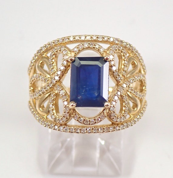 Yellow Gold 1.85 ct Diamond and Emerald Cut Sapphire Engagement Ring Size 7 September Gemstone FREE Sizing