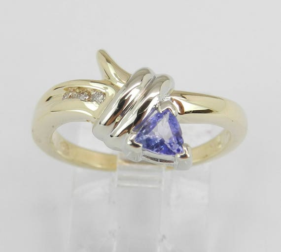 SALE PRICE! Diamond and Tanzanite Engagement Ring 14K Yellow Gold Size 6 Trillion December Gem FREE Sizing