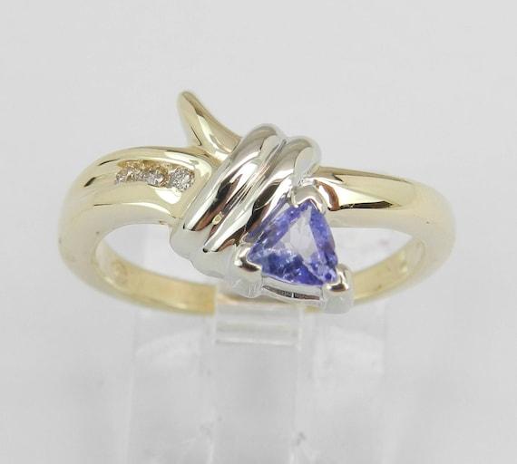 Diamond and Tanzanite Engagement Ring 14K Yellow Gold Size 6 Trillion December Gem FREE Sizing
