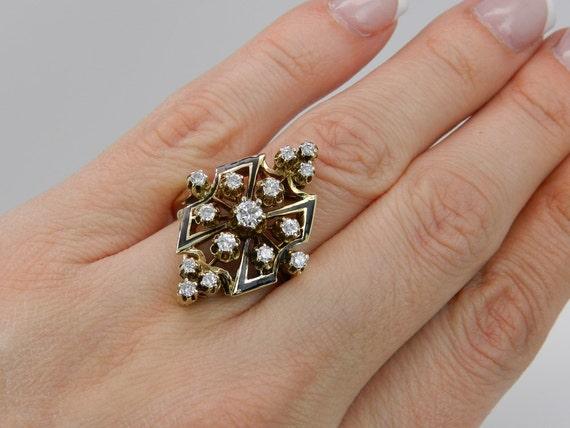 Antique Diamond Ring Black Enamel Ring Vintage Ring Estate 14K Yellow Gold Size 10