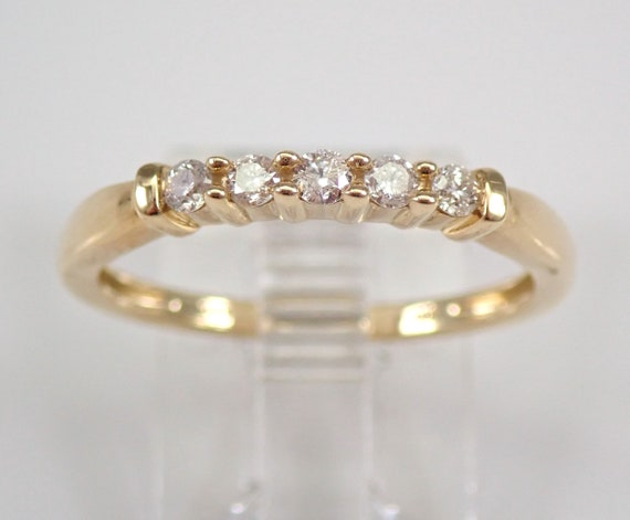 Diamond Wedding Ring Anniversary Band Yellow Gold Stackable 5 Stone Size 7