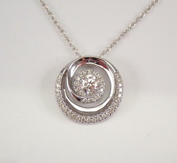 "Diamond Cluster Pendant White Gold Diamond Halo Wedding Necklace Chain 18"""