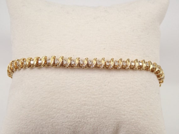 "Vintage Estate Yellow Gold Diamond Tennis Bracelet 7"" FREE SHIPPING"