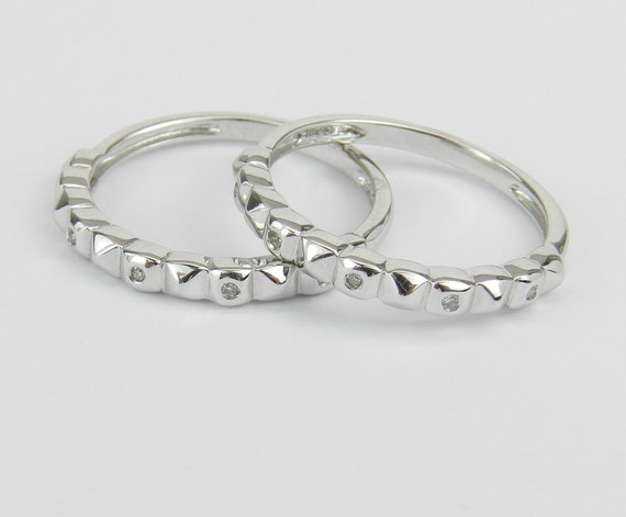 White Gold Diamond Wedding Ring Anniversary Band Stackable Guard Set Size 6.75