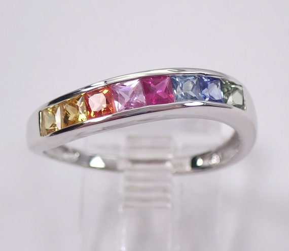 Multi Color Princess Cut Sapphire Wedding Ring Anniversary Band White Gold Size 8 Pink Blue Orange Green
