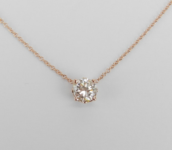"14K Rose Gold Diamond Solitaire Pendant Necklace 16"" Chain Decorative Prong Setting"