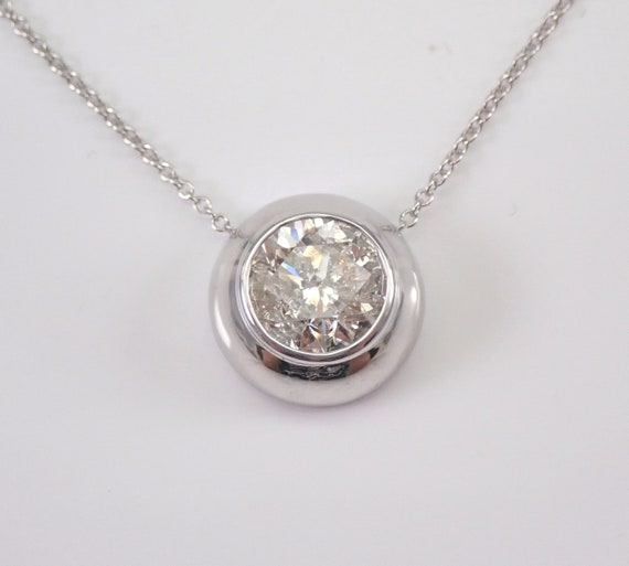 "14K White Gold 1.91 ct Diamond Solitaire Pendant Necklace 18"" Chain Bezel Set"