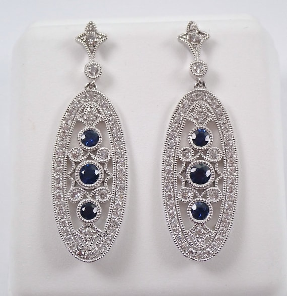 Sapphire and Diamond Antique Style Earrings 18K White Gold Dangle Drop Filigree Vintage Design