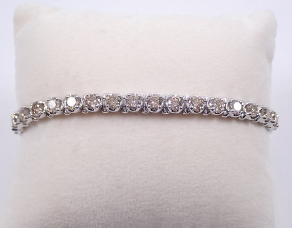 14K White Gold 8.02 ct Diamond Tennis Bracelet Traditional Prong Set Line Bracelet