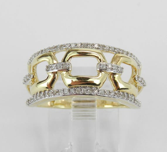 Diamond Wedding Ring Anniversary Band Cluster Cocktail Yellow Gold Size 7 Stackable