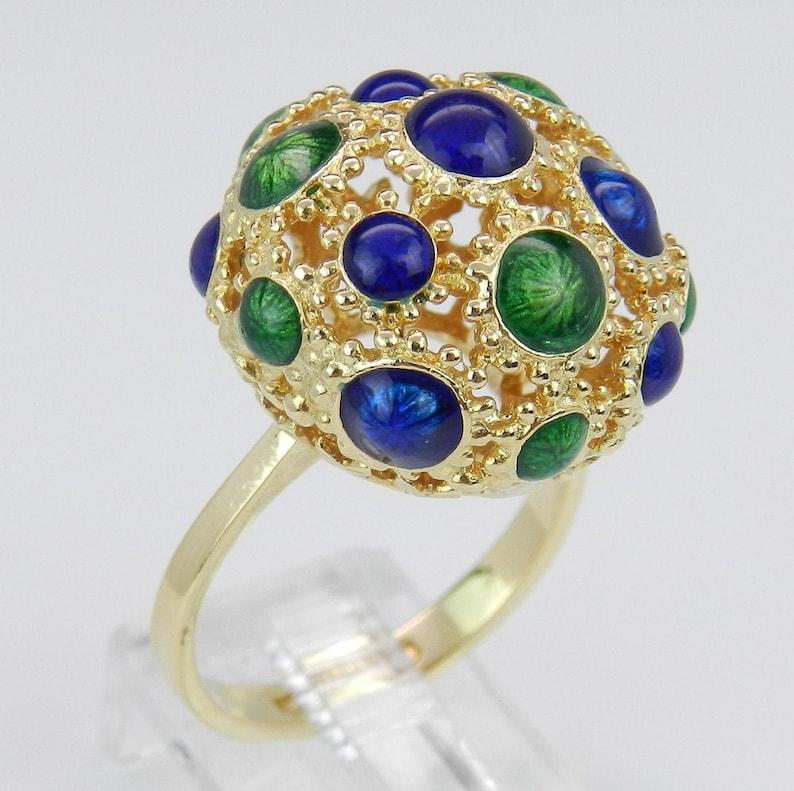 Antique Enamel Ring Vintage Dome Ring Blue and Green Enamel image 0